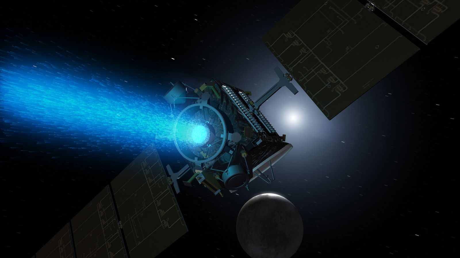 The picture of satellite with visible working thruster exhaust nozzle